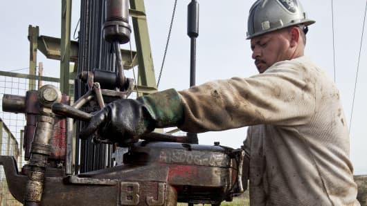 An oil worker in Taft, California.