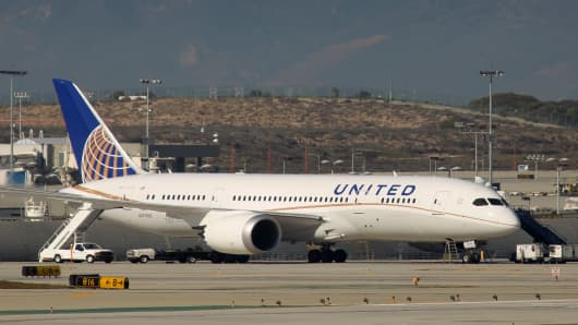 A grounded Boeing 787 Dreamliner jet operated by United Airlines.