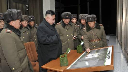 North Korean leader Kim Jong Un (C) inspecting a firing exercise in North Korea.