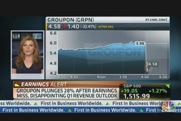 Groupon Plunges 28% After Earnings