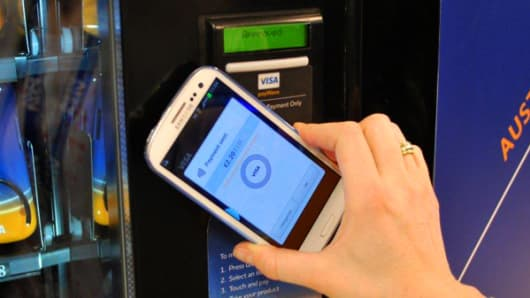 Visa-Samsung mobile payment phone.