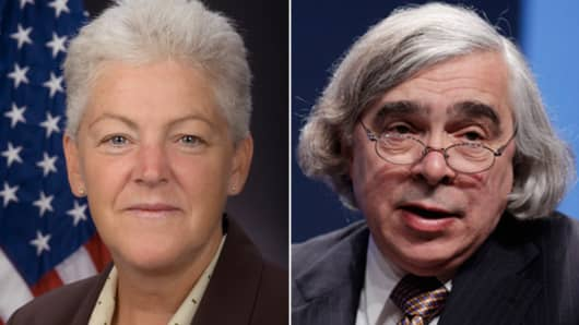 Gina McCarthy to lead the U.S. Environmental Protection Agency (L), and nuclear physicist Ernest Moniz to head the Department of Energy (R).