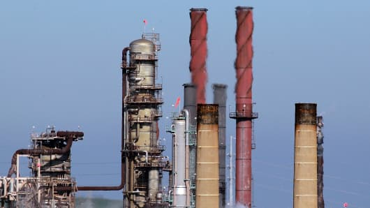 Heat rises from stacks at the Chevron refinery in Richmond, California.