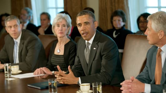 President Obama presides over the first Cabinet of his second term Monday.