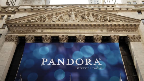 Pandora banner on the New York Stock Exchange