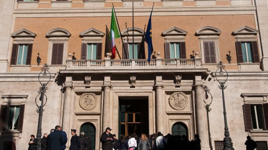 A view of the main facade of the Italian Parliament, Palazzo Montecitorio.