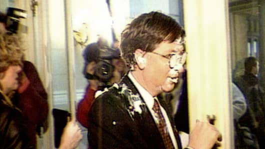 Bill Gates after being 'pied' in 1998