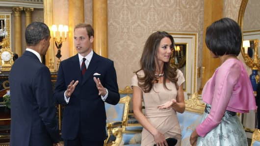 Kate Middleton in a Reiss nude Shola bandage dress.