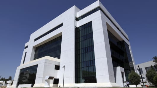 The Bank of Cyprus headquarters in Nicosia, Cyprus.
