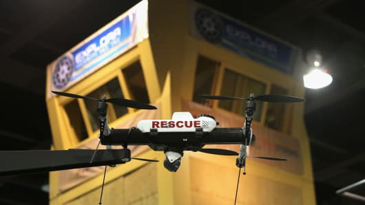 A drone on display in the exposition hall of the Border Security Expo in Phoenix