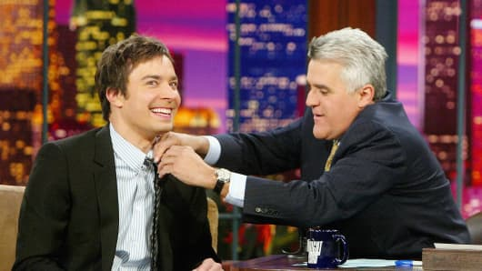 "Jimmy Fallon appears on ""The Tonight Show"" with Jay Leno."