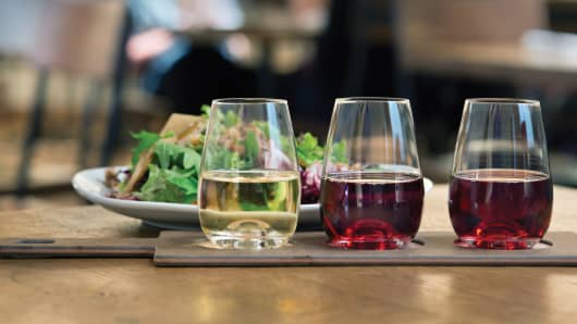 Flight of wine at California Pizza Kitchen