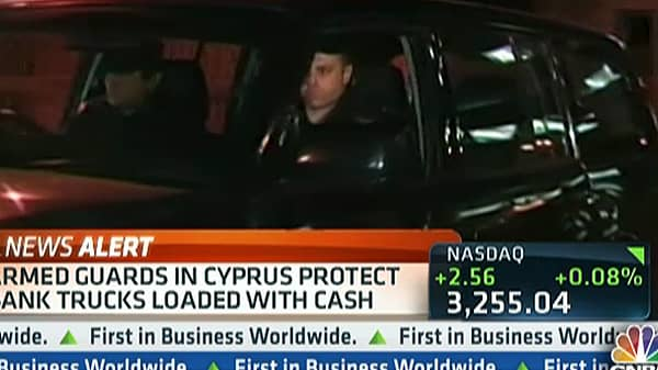 Armed Guards Protect Banks In Cyprus