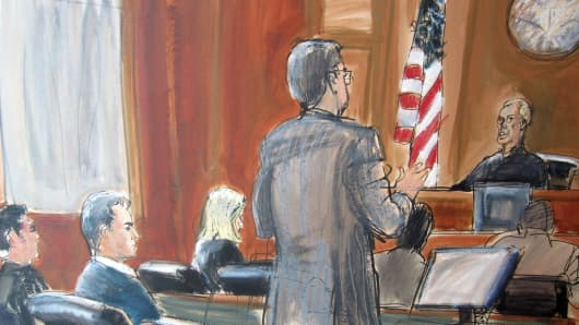 Courtroom sketch from SAC Capital Portfolio Manager Michael Steinberg's arraignment hearing.
