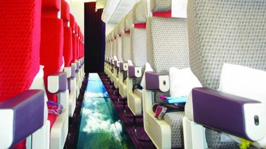 April Fools at Virgin Airlines: Glass bottom planes!