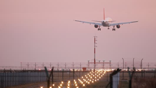 A plane takes off in Berlin, Germany.