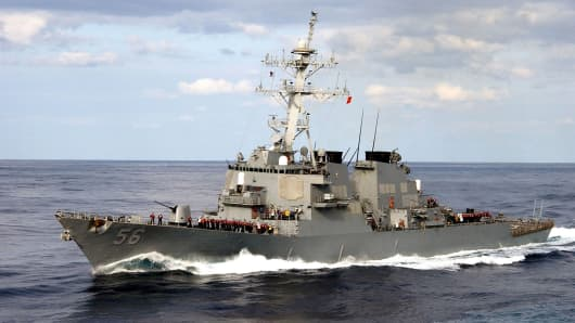 The guided-missile destroyer USS John S. McCain is deployed off the Korean coast.