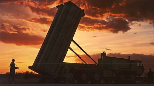 A United States Army missile defense system, Terminal High Altitude Area Defense (THAAD).