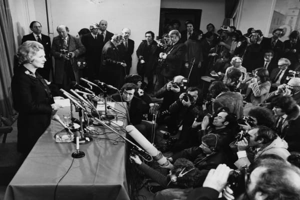 Margaret Thatcher speaks to the press for the first time after being elected Conservative Party Leader.