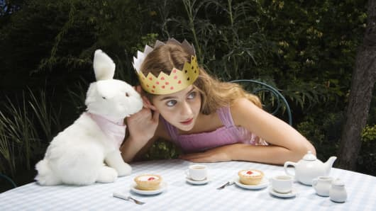 Alice in Wonderland at the Mad Hatter's Tea Party
