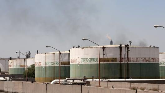 Oil storage tanks in Mexico.