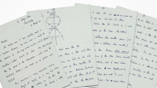 Francis Crick DNA letter sets $5.3m auction record.