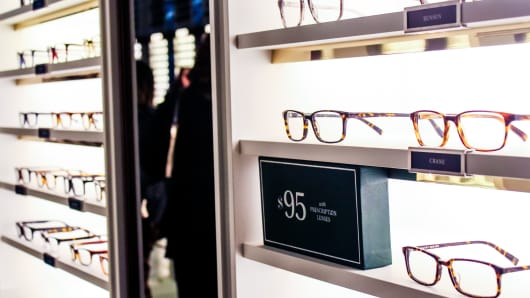 Warby Parker eyewear on display at their new flagship store in SOHO, New York.
