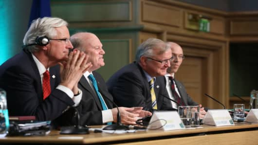 Michel Barnier, Commisioner for Internal Market and Services; Minister for Finance Michael Noonan, Olli Rehn, the European Commision Vice President, and Jorg Asmussen, Member of the Executive Board, at the Eurogroup meeting of ECOFIN Ministers in Dublin.