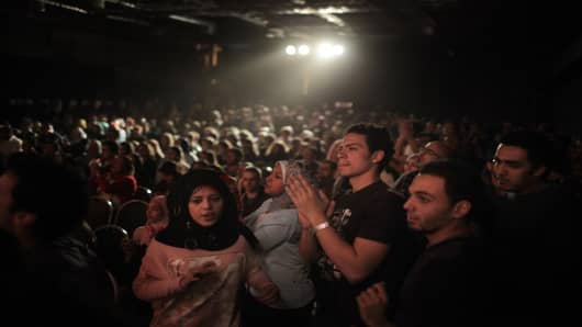 Egyptian youth enjoy a concert in Cairo, February, 2011.