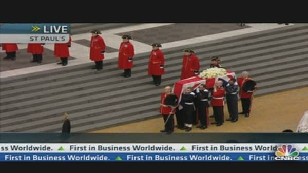 Baroness Thatcher's Coffin Arrives at St Paul's