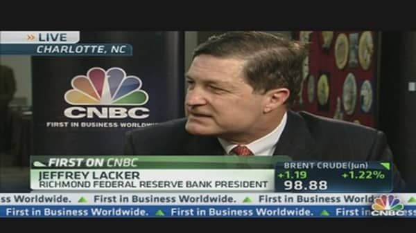Fed's Lacker Would End QE Now