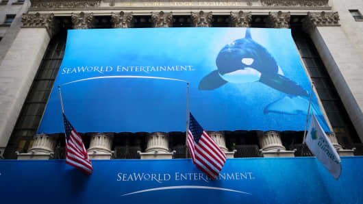 Seaworld launches their IPO at the NYSE on April 19, 2013.