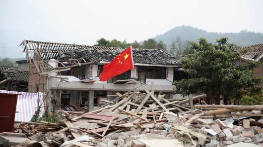 Rubble from a collapsed building after a strong earthquake hit Southwest China's Sichuan Province.