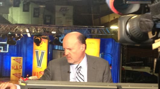 Mad Money's Jim Cramer on set at Villanova University.