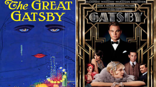 Dueling book covers: The original cover of The Great Gatsby battles the new movie version now on sale in bookstores.