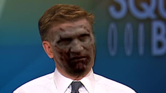 "Control Room fun! Photo mash-up of CNBC's Joe Kernen as a zombie-Merle from ""The Walking Dead."""