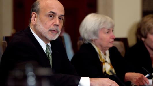 Ben Bernanke, chairman of the Federal Reserve, and Janet Yellen, vice chair of the Federal Reserve
