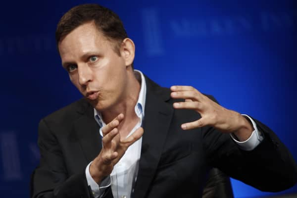 Peter Thiel of Founders Fund speaks at the 2013 Milken Institute Global Conference.