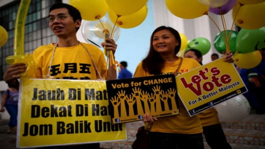 Supporters calling for electoral reform, ahead of the country's 13th general election this weekend.