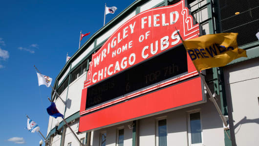 Wrigley Field in Chicago, Illinois, home of the Cubs.