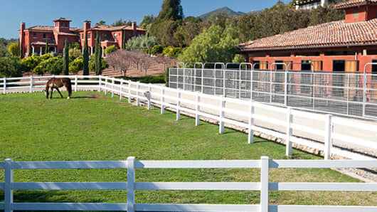 This Tuscan-style equestrian estate in Santa Barbara, Calif., is currently listed for $14.95 million. The 8,725-square-foot main residence is located on 10 acres with outstanding ocean views, and the stable is large enough to accommodate six horses.