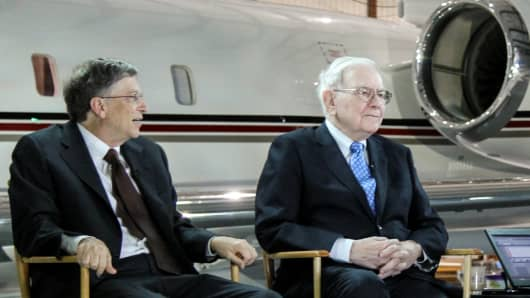 Bill Gates and Warren Buffett speak on CNBC's Squawk Box in Omaha, Nebraska.