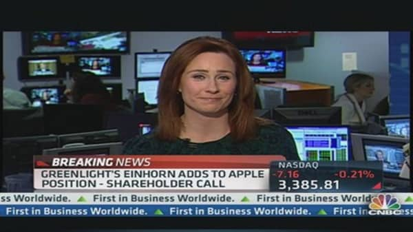 Greenlight's Einhorn Adds to Apple Position