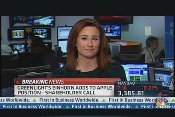 Greenlight's Einhorn Adds to Apple Position