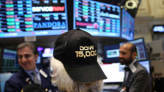 The Dow closed above 15,000 for the first time ever, hitting 15,056.