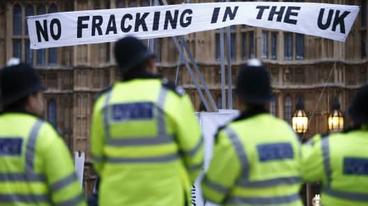 An anti-fracking protest outside the Houses of Parliament in London on December 1, 2012.