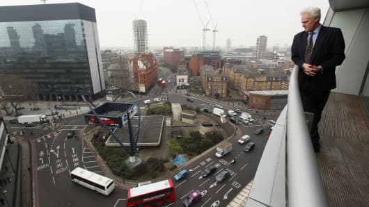 The Old Street roundabout, which has been dubbed 'Silicon Roundabout' due to the number of technology companies operating from the area in London.