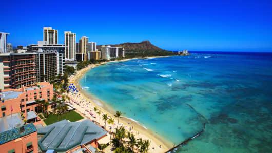 Waikiki Beach in Oahu, Hawaii.
