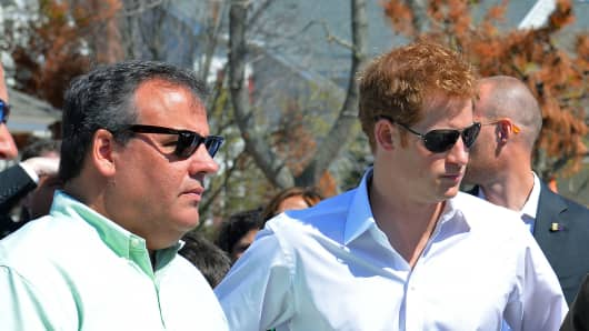 Prince Harry with Gov. Chris Christie during his visit one of the areas affected by Superstorm Sandy.