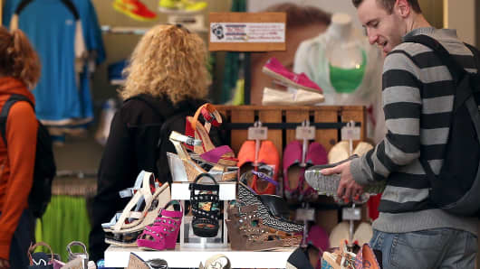 Retail sales consumer sentiment shoe shopping